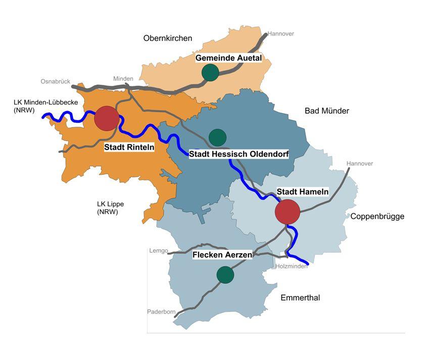 Hameln Karte.Leader Region Westliches Weserbergland